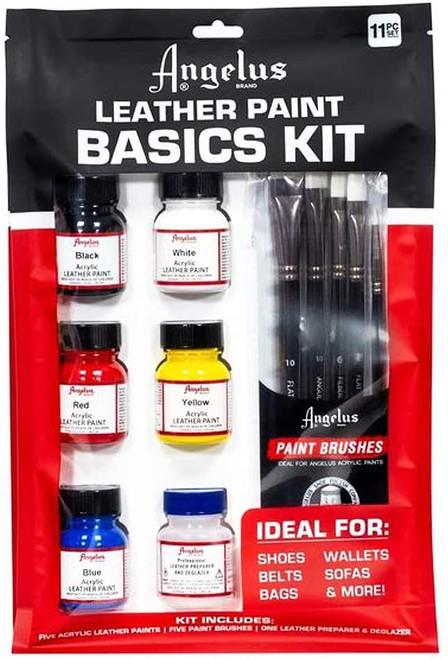 Angelus Basics Kit Leather Paint and Brush 11 Piece Set