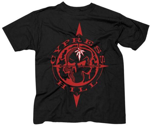 Cypress Hill Men's Black Skull & Compass Slim-Fit T-Shirt