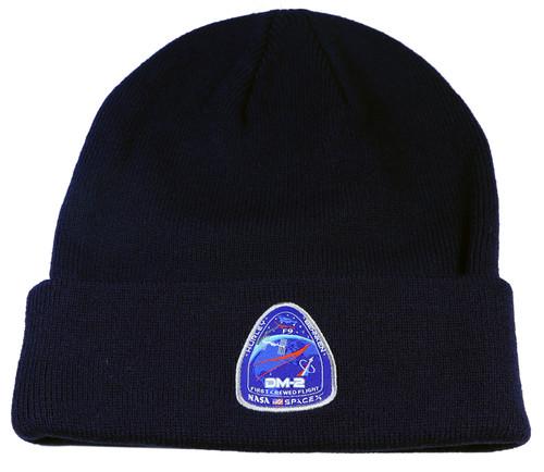 Authentic NASA DM2 Patch Navy Blue Cuff Knit Beanie