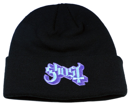 Authentic Ghost Popestar Black Embroidered Cuff Knit Beanie