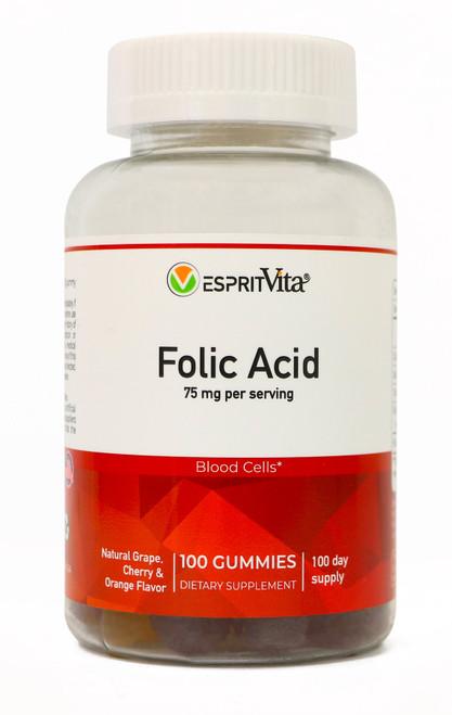 Esprit Vita Folic Acid Gummies 75mg Per Serving Natural Flavors Healthy Blood Cell Formula 100ct