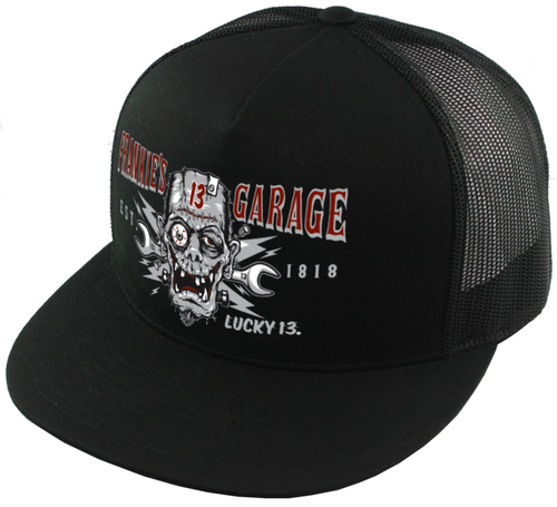 Lucky 13 Frankie's Garage Flat Bill Trucker Hat Black