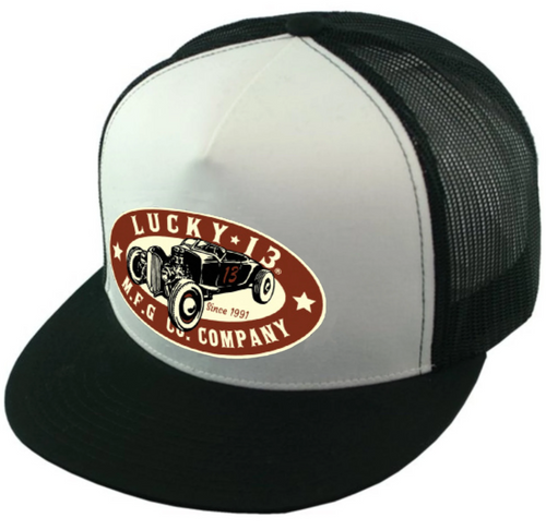 Lucky 13 The Roadster Flat Bill Trucker Hat Black and White