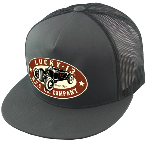 Lucky 13 The Roadster Flat Bill Trucker Hat Charcoal