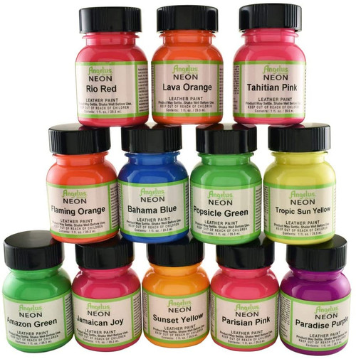 Angelus Neon Leather Paint 1oz 12 Color Set