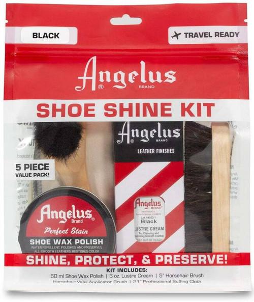 Angelus Shoe Shine Travel Kit 5pc Set Black