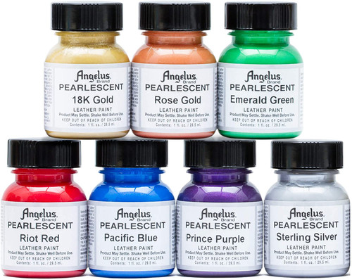 Angelus Pearlescent Leather Paint 1oz 7 Color Set