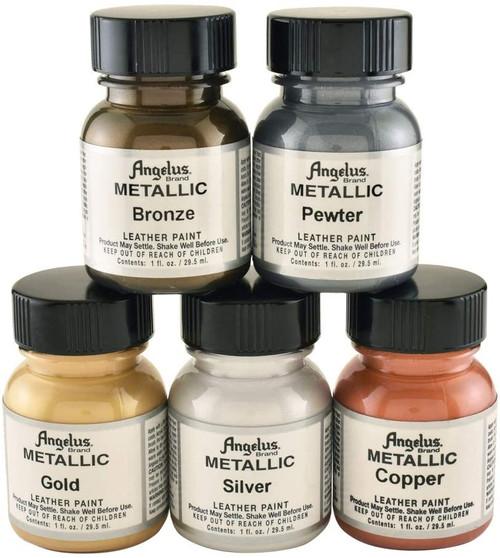 Angelus Metallic Leather Paint 1oz 5 Color Set