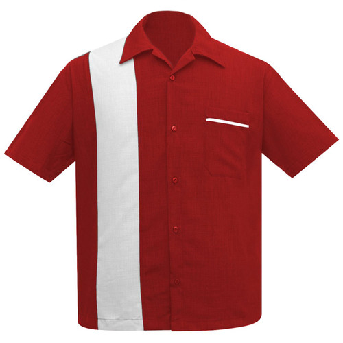 Steady Clothing Pop-Check Single Panel Bowling Shirt Red White