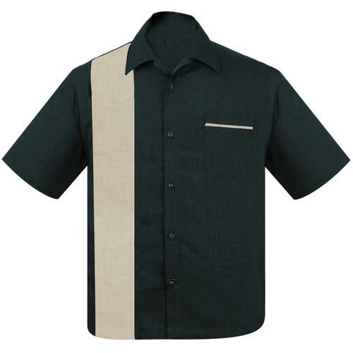 Steady Clothing Pop-Check Single Panel Bowling Shirt Teal Stone