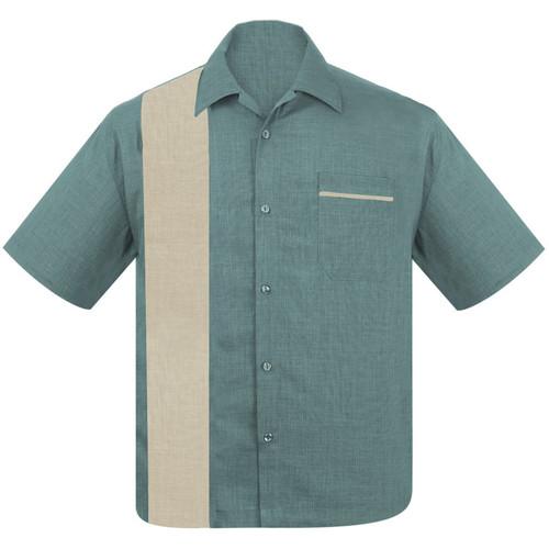 Steady Clothing Pop-Check Single Panel Bowling Shirt Sea Foam Stone