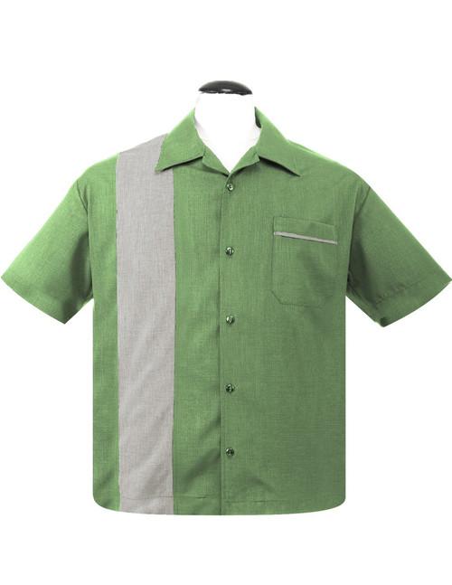 Steady Clothing Pop-Check Single Panel Bowling Shirt Apple Stone
