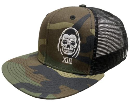 Lucky 13 The Speed Reaper Flat Bill Trucker Hat Green Camouflage