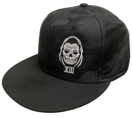 Lucky 13 The Speed Reaper Flat Bill Trucker Hat Black Camo