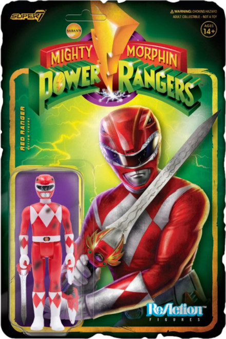 "Super7 Mighty Morphin' Power Rangers Red Ranger Battle Damaged Reaction Figure 3.75"""