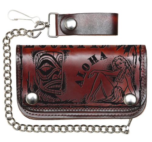 """Lucky 13 The Aloha Genuine Embossed Leather 6"""" Chain Wallet Antiqued"""