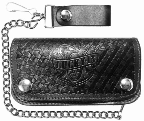 """Lucky 13 Old Time Genuine Embossed Black Leather 6"""" Chain Wallet"""