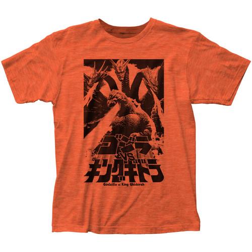 Godzilla Men's Fire Breathing T-Shirt Heather Orange