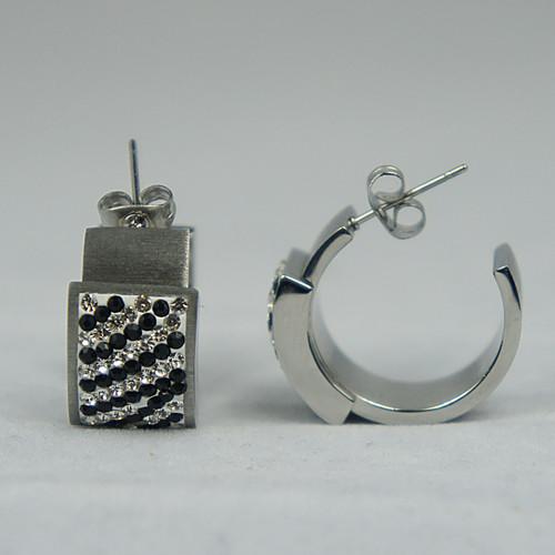 Womens Stainless Steel Earrings - Crystal Cheetah Cocktail