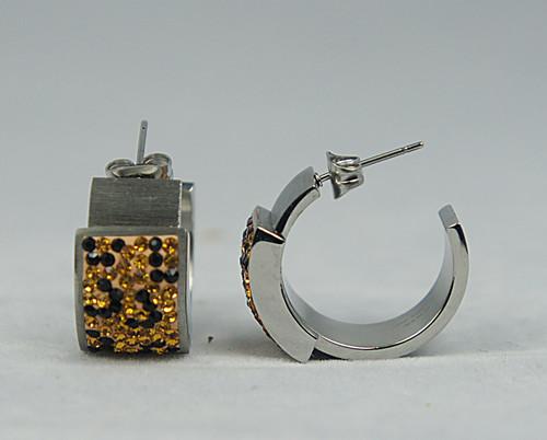 Womens Stainless Steel Earrings - Crystal Leopard Design