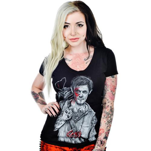 Black Market Art T-Shirt Girls - Daryl Dixon Tattoo Walking Dead