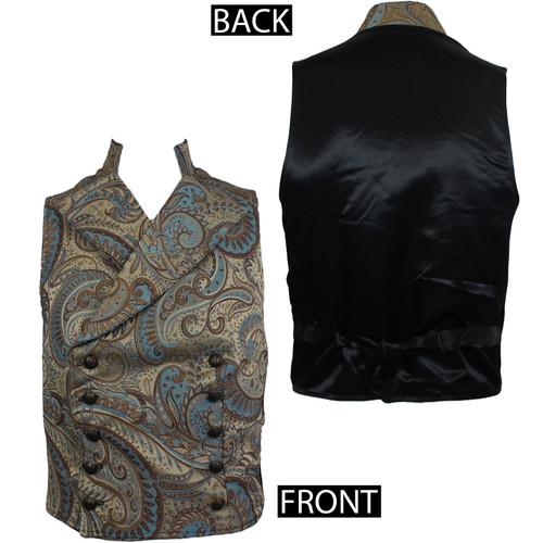 The Shrine Clothing Cavalier Vest - Gold With Blue Brocade