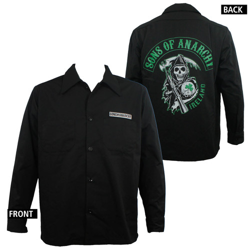 Sons Of Anarchy Long Sleeve Shirt - Ireland Chapter Screenprinted