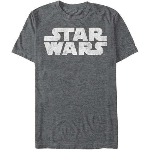 Star Wars T-Shirt - Simple Logo Distressed Grey