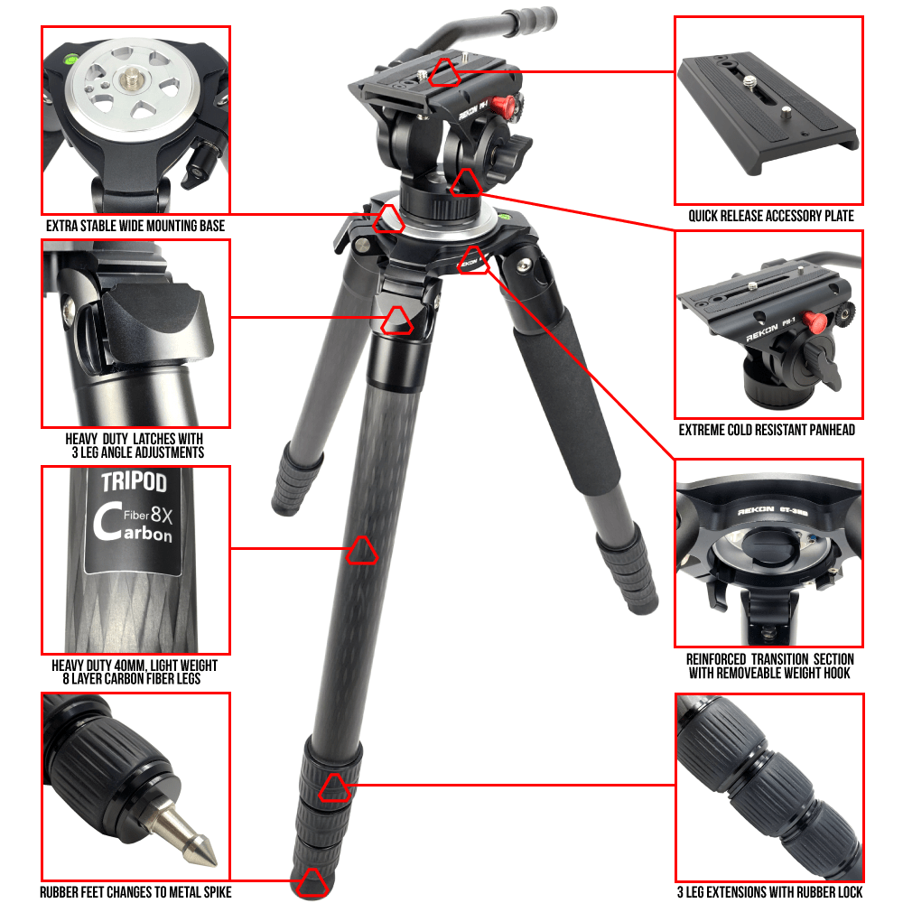 REKON CT-3HD and PH-1 Pan Head carbon fiber tripod