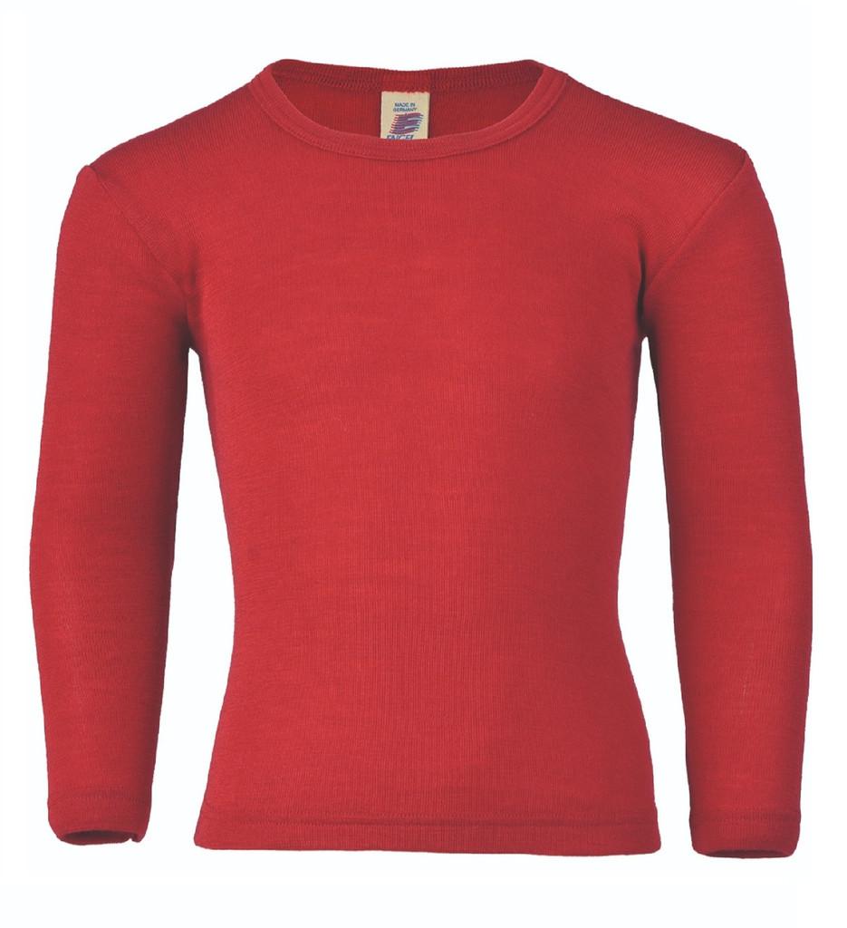 Engel Organic Wool/ Silk Children's Long Sleeved Shirt Color: Cherry Red