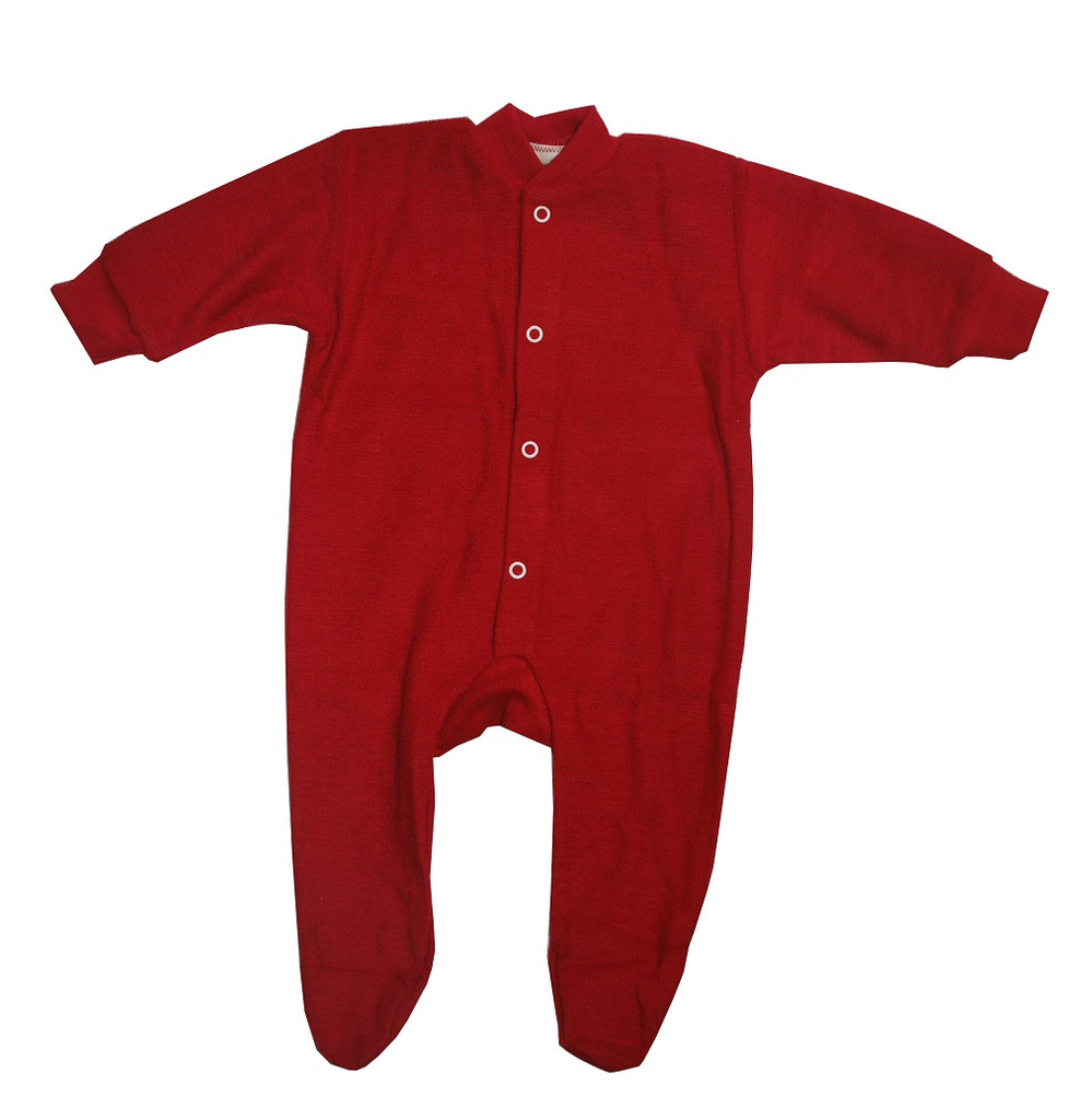 Cosilana Organic Wool Terry Footed Pajamas Color: Red