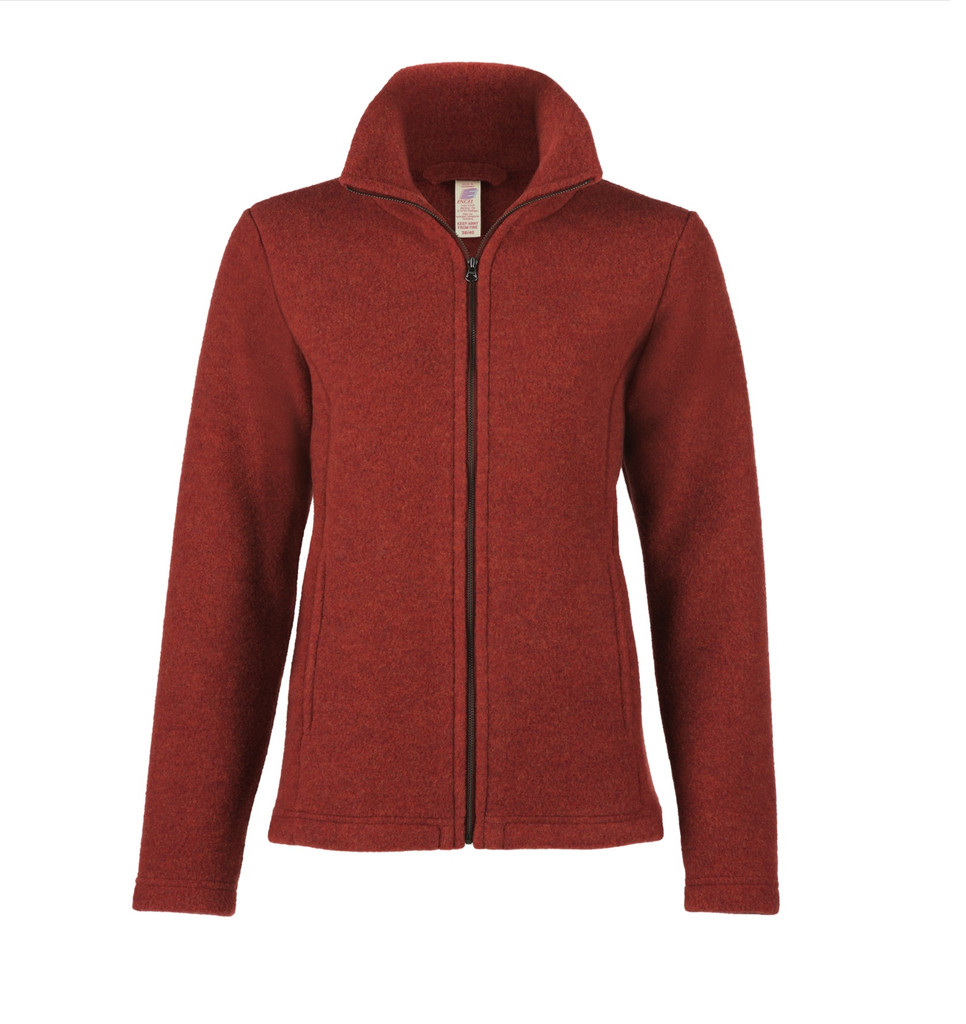 Organic Thick Wool Fleece Women's Jacket Color: 071E Terracotta Melange