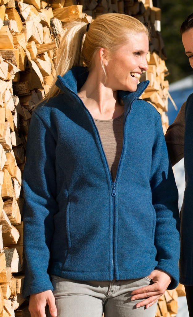 Organic Thick Wool Fleece Women's Jacket Color: Sapphire