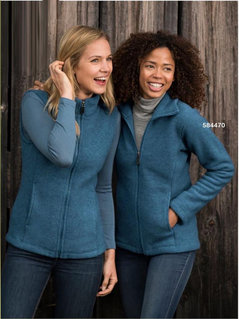Organic Thick Wool Fleece Women's Jacket Color: 34E atlantic