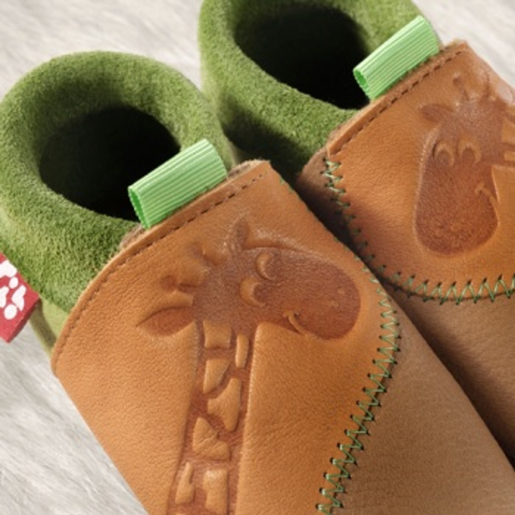 "Handmade Natural Leather Soft-Soled Indoor Slippers - ""Giraffe"""
