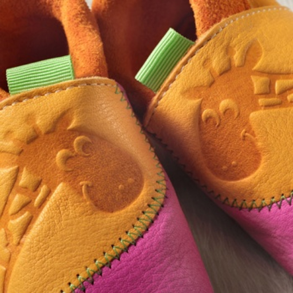 """Handmade Natural Leather Soft-Soled Indoor Slippers - """"Giraffe"""" in Mango/ Pink"""