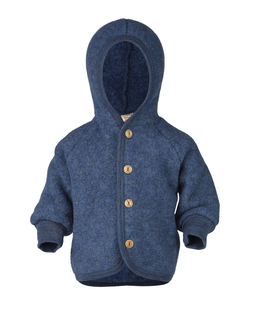 Soft Organic Wool Fleece Hooded Jacket for Babies Color: Blue Melange