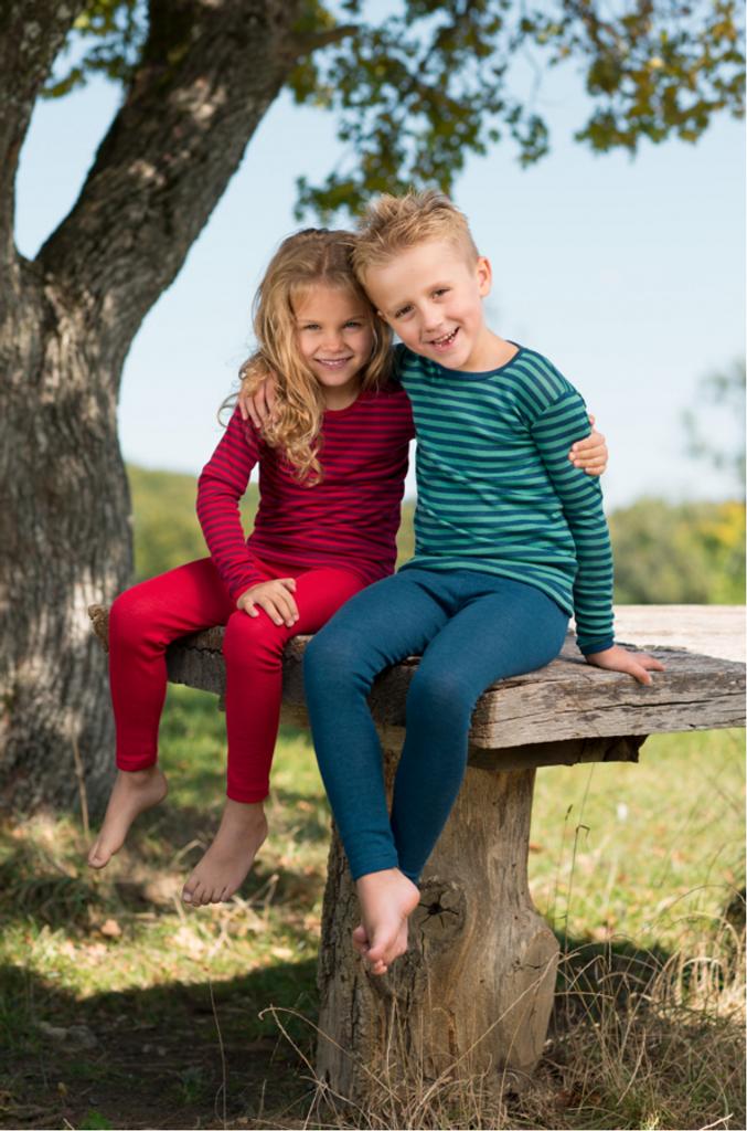 Children's Long Sleeved Shirt | Engel Organic Wool/ Silk Cherry-red / Orchid (left) Light ocean / Ice-blue (right)