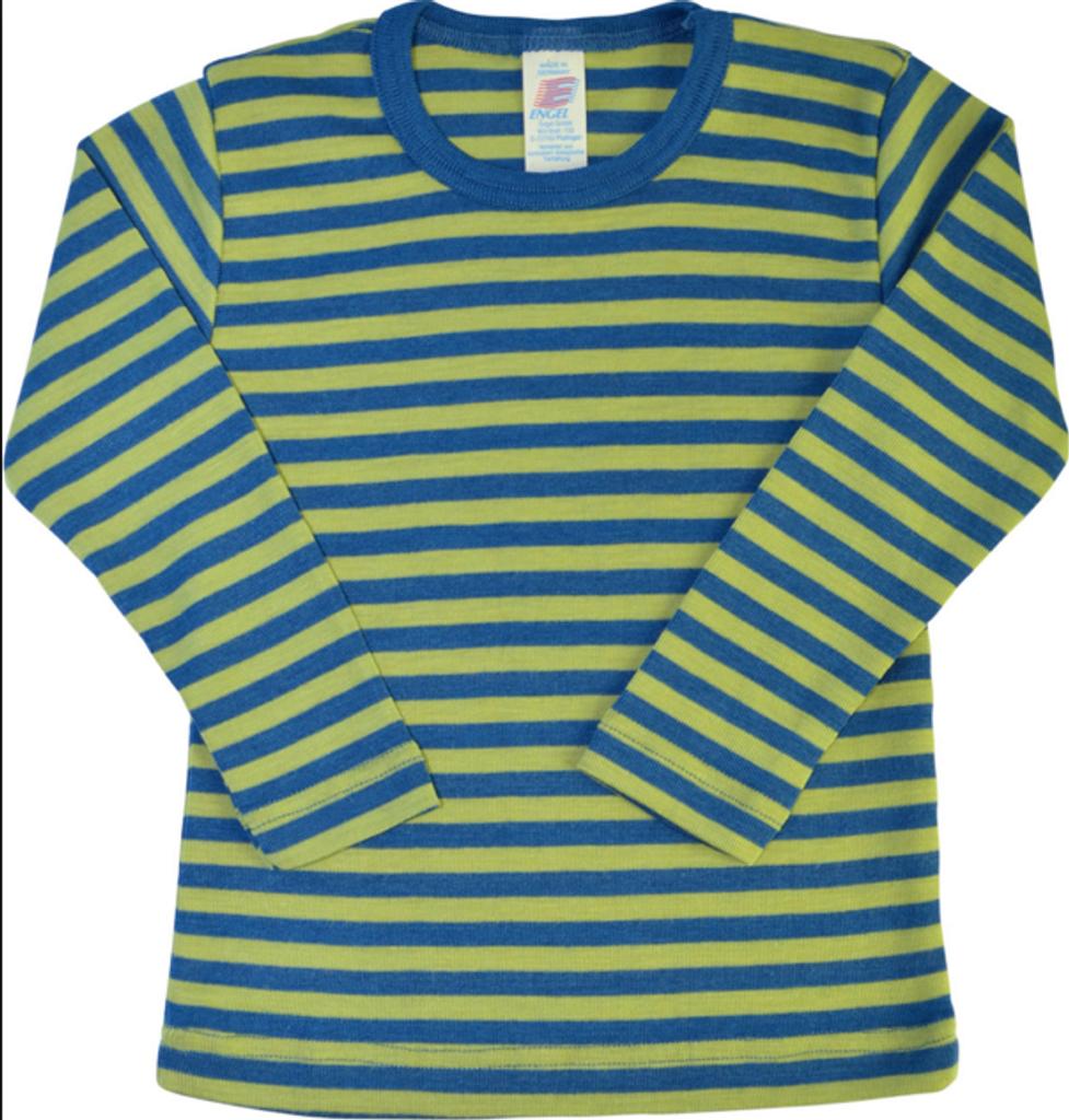 Children's Long Sleeved Shirt | Engel Organic Wool/ Silk Light Ocean/ Kiwi