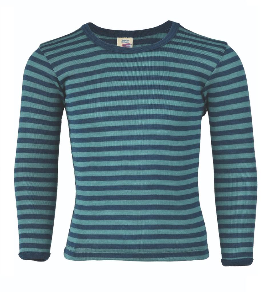Children's Long Sleeved Shirt | Engel Organic Wool/ Silk Color: Light ocean / Ice-blue