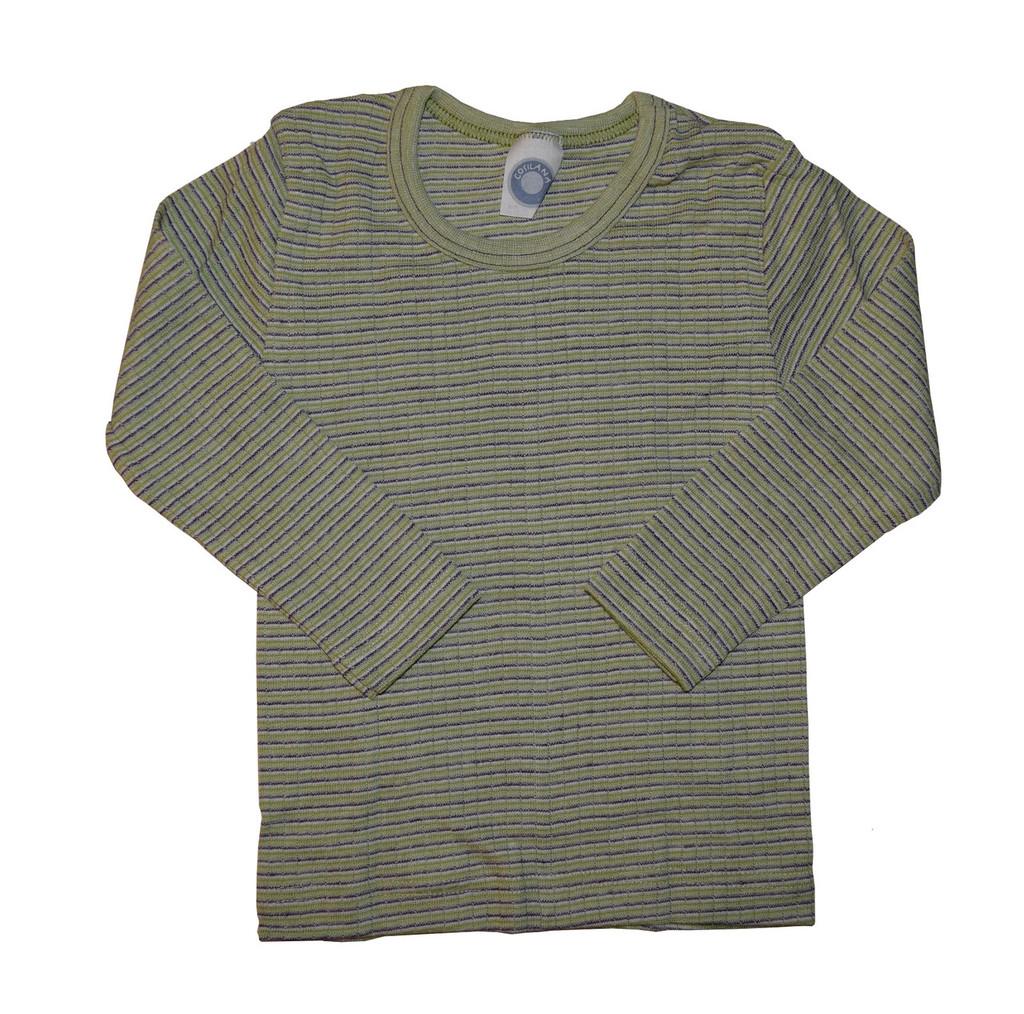 Organic Wool/ Silk/ Cotton Long Sleeved Shirt for Kids Color: 921 Green-Plum-Natural