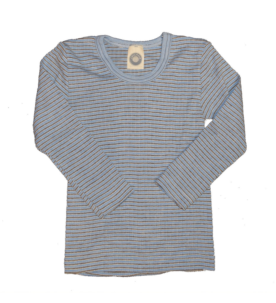 Organic Wool/ Silk/ Cotton Long Sleeved Shirt for Kids Color: 906 Blue-Brown-Natural
