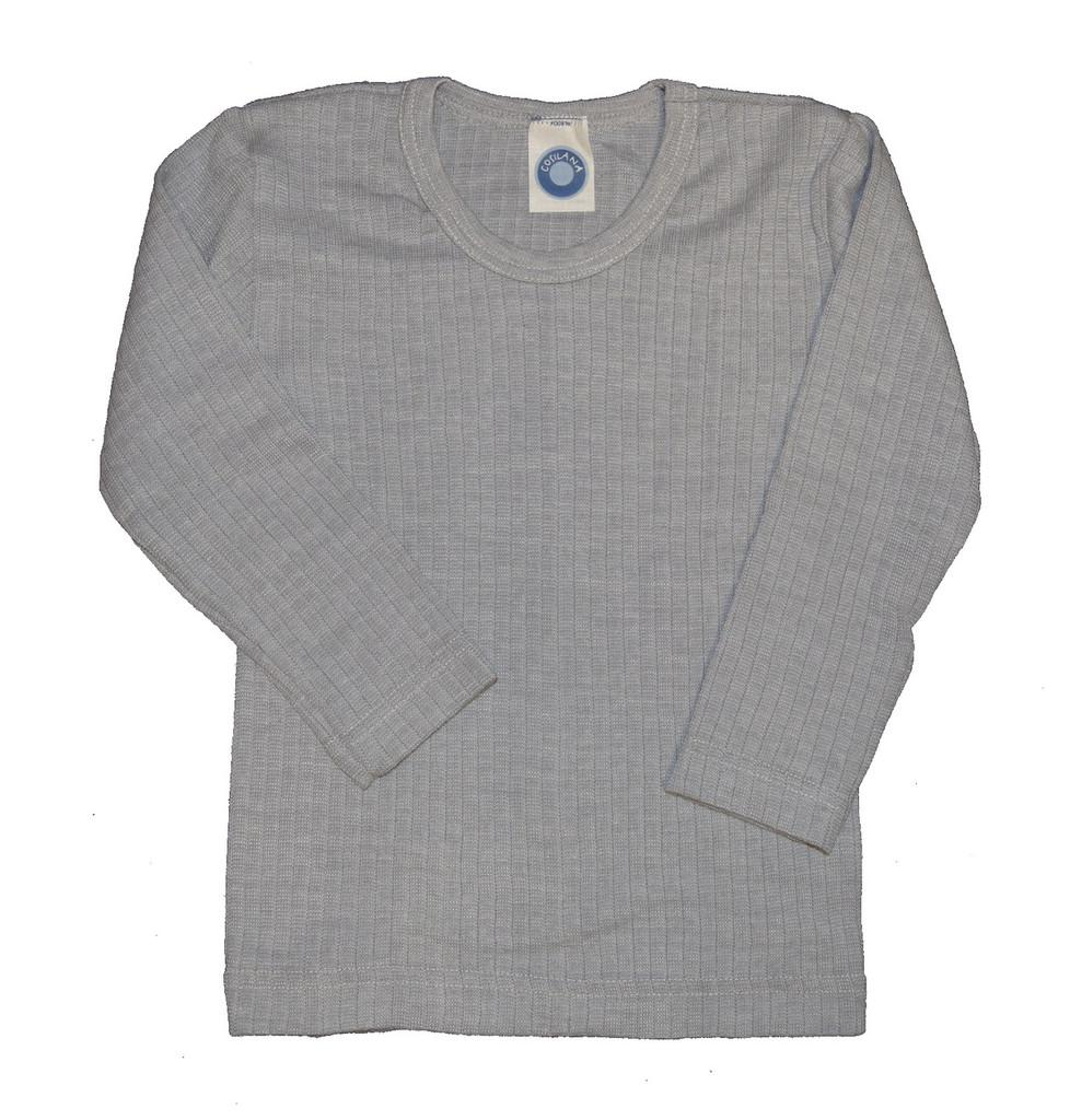 Organic Wool/ Silk/ Cotton Long Sleeved Shirt for Kids Color: 940 Grey Melange