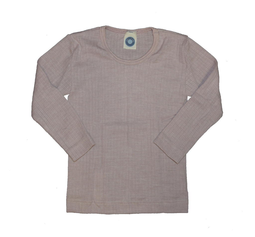 Organic Wool/ Silk/ Cotton Long Sleeved Shirt for Kids Color: Pink