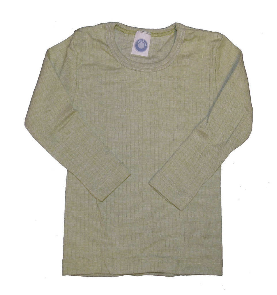 Organic Wool/ Silk/ Cotton Long Sleeved Shirt for Kids Color: 021 Green Melange