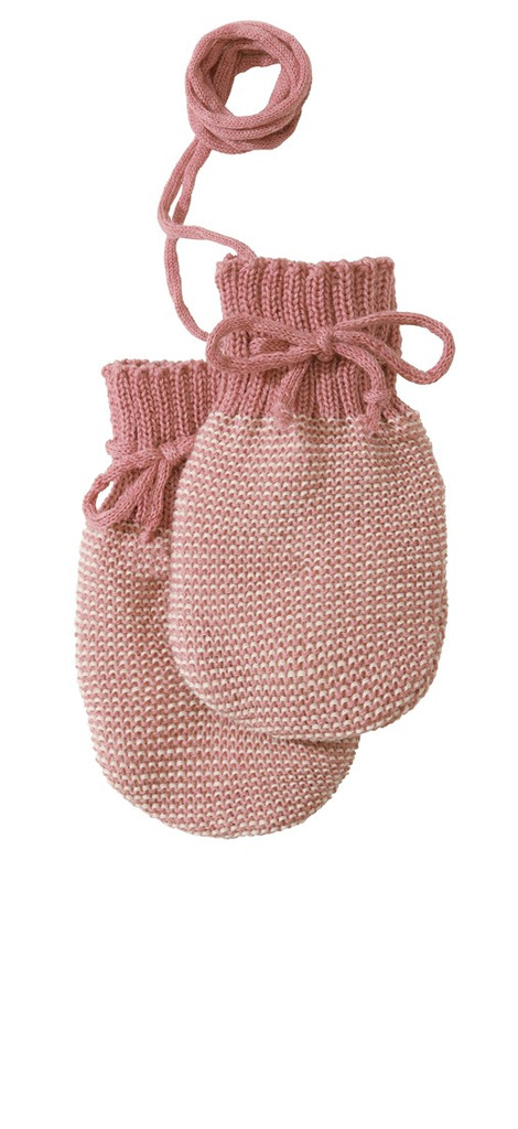 Wool Knitted Melange Baby Mittens. Color: 50 Rose Natural