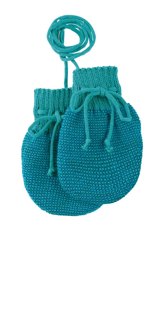 Wool Knitted Melange Baby Mittens. Color: Blue Lagoon