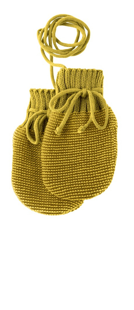 Wool Knitted Melange Baby Mittens. Color: Curry Gold