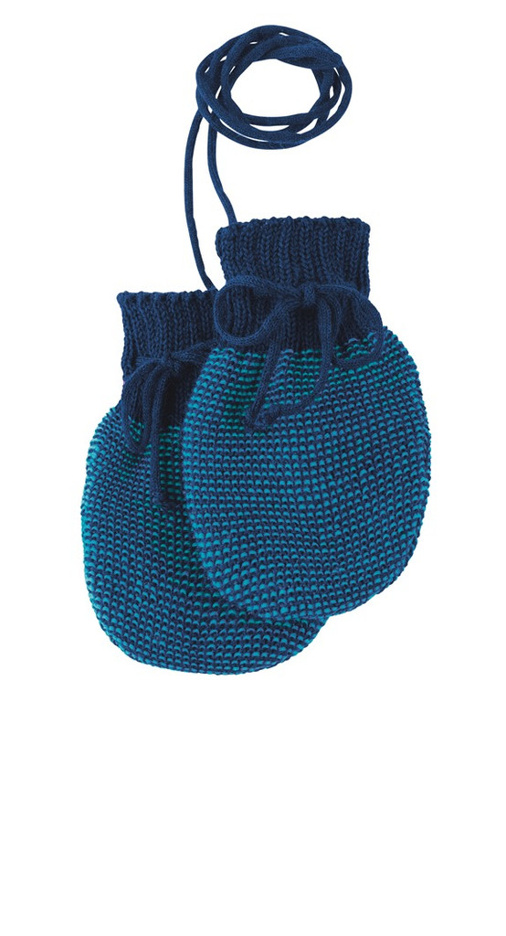 Wool Knitted Melange Baby Mittens. Color: Navy Blue