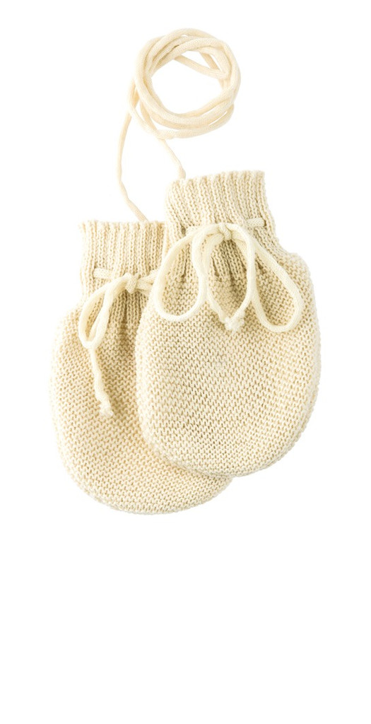 Wool Knitted Melange Baby Mittens. Color: Natural